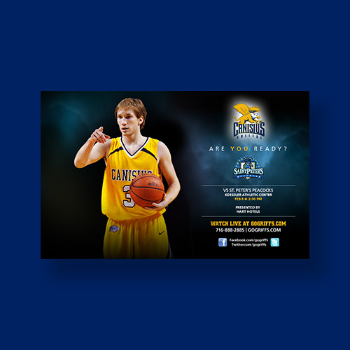 Print ad with basketball player