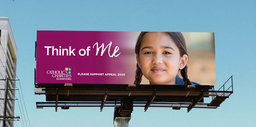 Appeal 2020 billboard for Catholic Charities of Buffalo is an example of creative developed by Abbey Mecca for public awareness advertising campaign