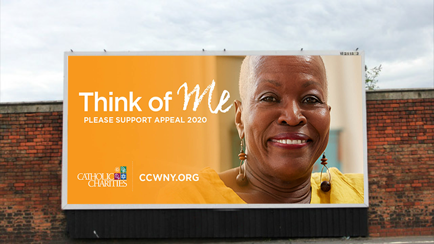 Appeal 2020 poster for Catholic Charities of Buffalo is an example of creative developed by Abbey Mecca for public awareness advertising campaign