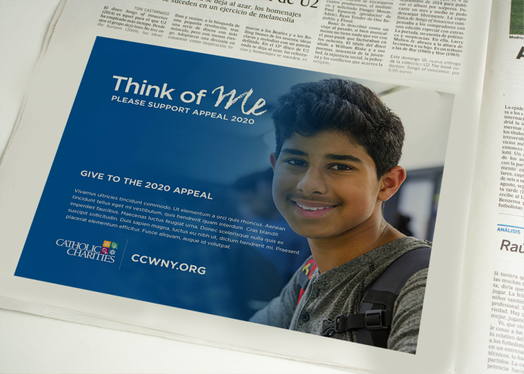Appeal 2020 newspaper ad for Catholic Charities of Buffalo is an example of creative developed by Abbey Mecca for public awareness advertising campaign