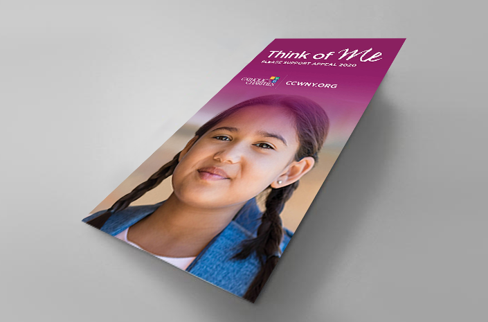 Appeal 2020 direct mail brochure for Catholic Charities of Buffalo is an example of creative developed by Abbey Mecca for public awareness advertising campaign